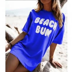 Тренди тениска с атрактивен принт BEACH BUM в син цвят