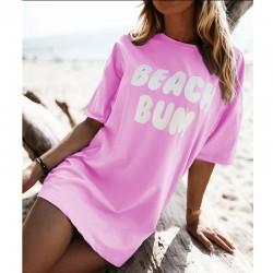 Тренди тениска с атрактивен принт BEACH BUM в розов цвят