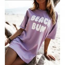 Тренди тениска с атрактивен принт BEACH BUM в лилав цвят