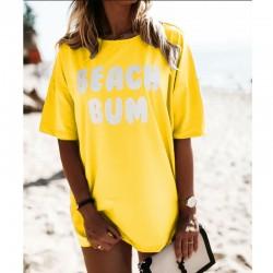 Тренди тениска с атрактивен принт BEACH BUM в жълт цвят