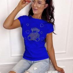 Тениска с цветни камъни Hot-fix в кралско син цвят- мече
