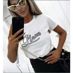 Тениска с камъни в бял цвят GLAM