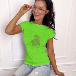 Тениска с камъни Hot-fix в зелен цвят- мече