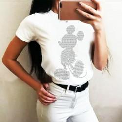 Тениска с камъни МИКИ в бял цвят