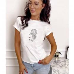 Тениска с камъни HOT-FIX в бял цвят с актуален принт