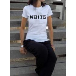 """Дамска тениска """" WHITE"""" в бял цвят"""