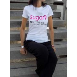 Дамска тениска с принт SUGAR в бял цвят