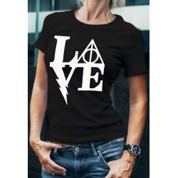 Дамска тениска с принт LOVE в черен цвят