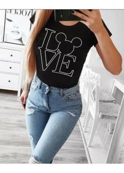 Дамска тениска в черен цвят с принт LOVE MICE