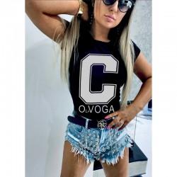 Дамска тениска в черен цвят с принт C OLA VOGA