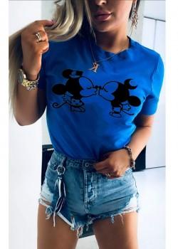 Дамска тениска в син цвят с принт KISS THE MICE