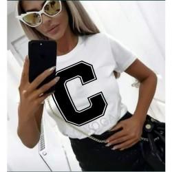 Дамска тениска в бял цвят с принт C OLA VOGA