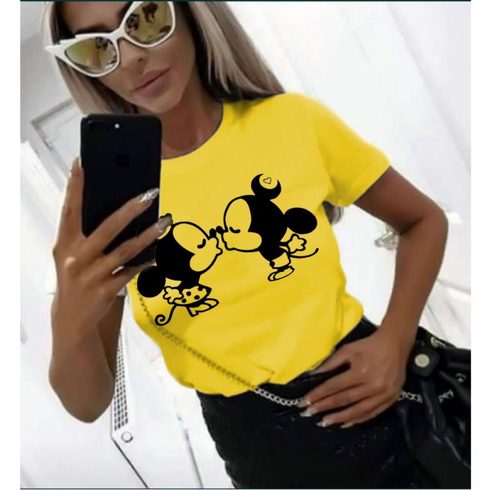Дамска тениска в жълт цвят с принт KISS THE MICE